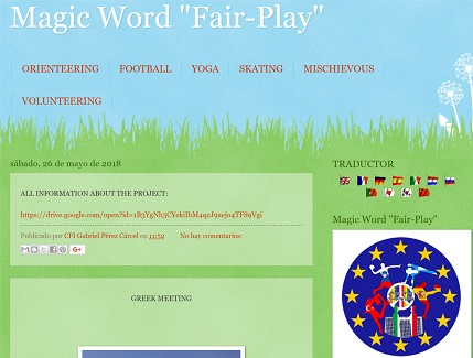 OUR BLOG OF ERASMUS + «MAGIC WORD FAIR PLAY»