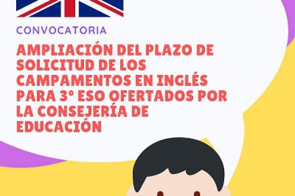 AMPLIACIÓN DEL PLAZO DE PRESENTACIÓN DE SOLICITUDES PARA CAMPAMENTOS EN INGLÉS PARA 3º ESO