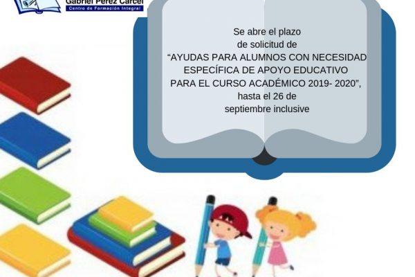 AYUDAS AL ESTUDIO  PARA ALUMNOS CON NECESIDAD ESPECÍFICA DE APOYO EDUCATIVO PARA EL CURSO 2019-2020
