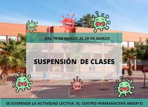 SE SUSPENDEN LAS CLASES DEL 16 AL 29 DE MARZO