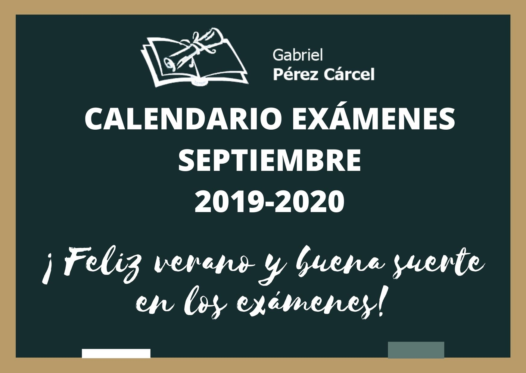 CALENDARIO EXÁMENES SEPTIEMBRE 2019-2020