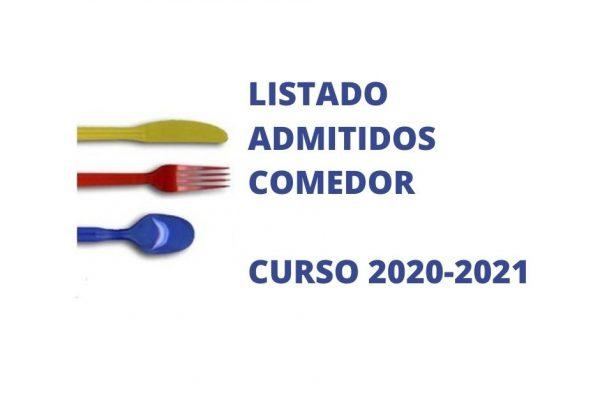 LISTA DE ADMITIDOS COMEDOR ESCOLAR CURSO 2020-2021