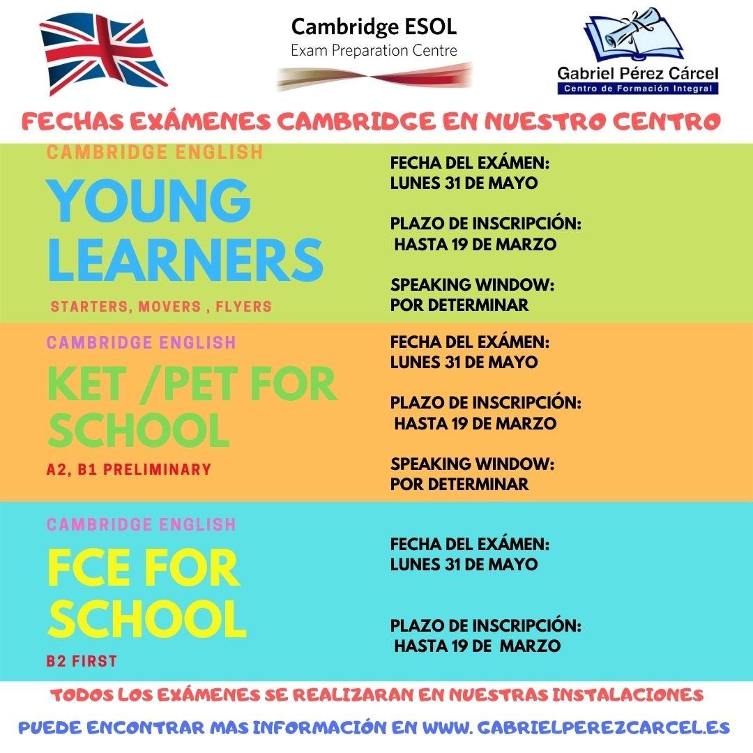 EXÁMENES CAMBRIDGE  2021 EN NUESTRO CENTRO